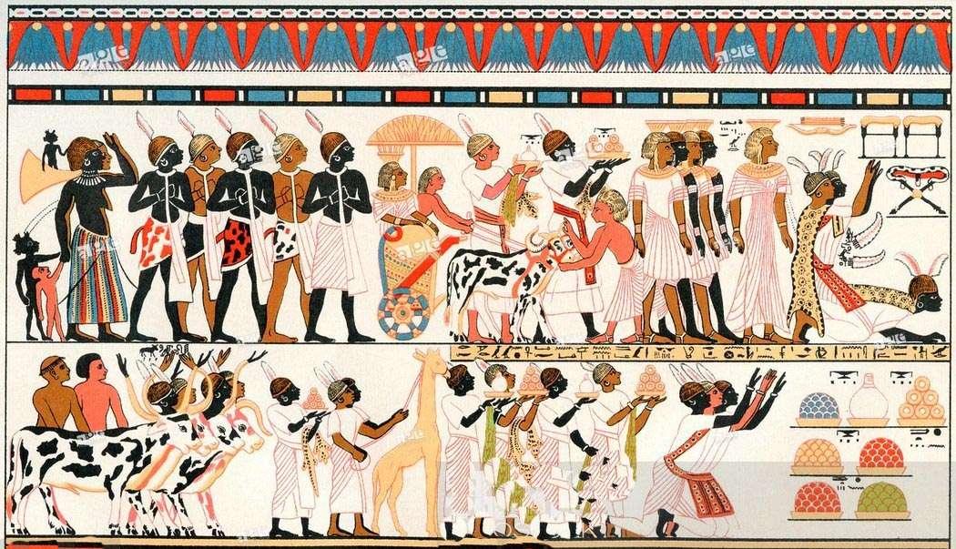 Nubios llevando regalos al Faraón de Egipto